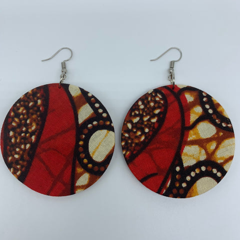 African Print Earrings-Round M Red Variation 13