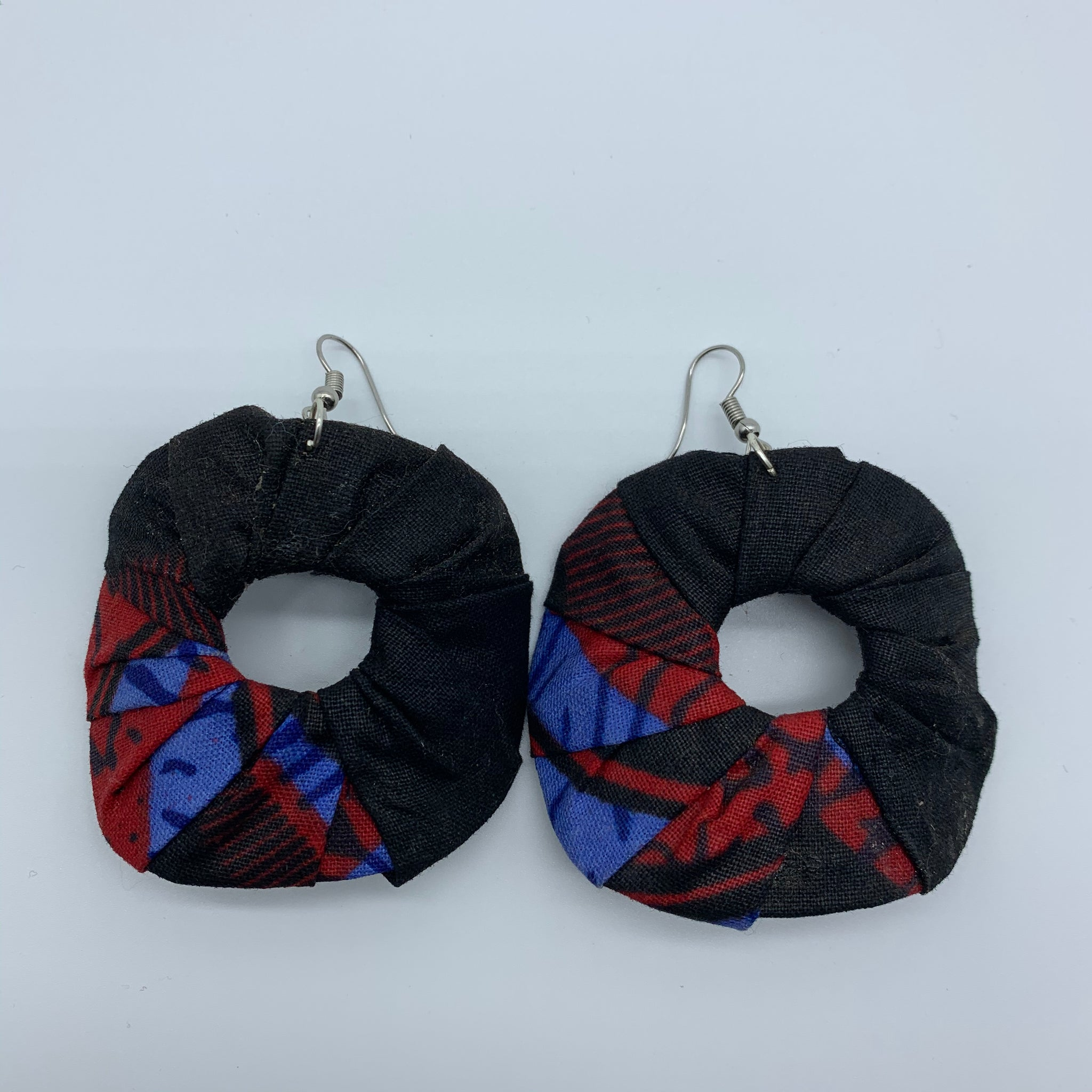 African Print Earrings-Faux Scrunchy Black Variation