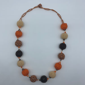 Beaded Necklace-Spaced Marble Orange Variation - Lillon Boutique