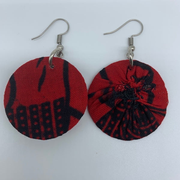 African Print Earrings-Round XS Red Variation 8