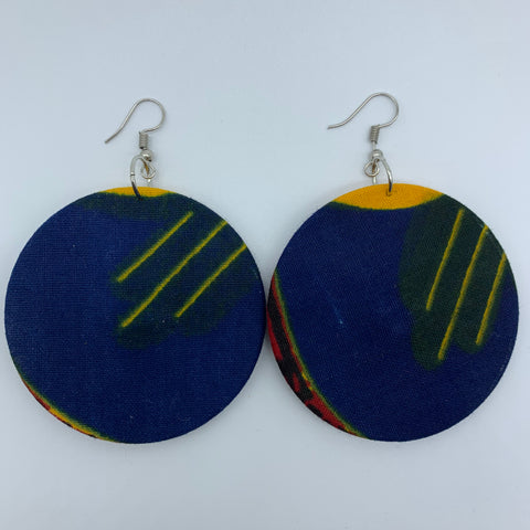 African Print Earrings-Round M Blue Variation 8 - Lillon Boutique