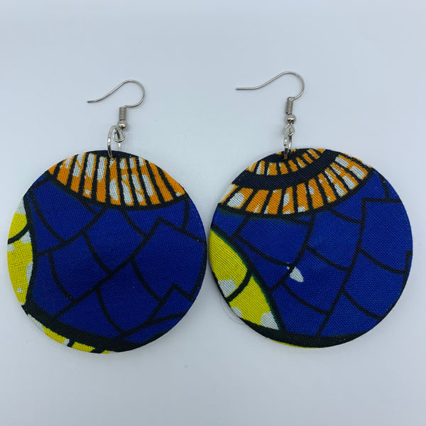 African Print Earrings-Round M Blue Variation 5 - Lillon Boutique