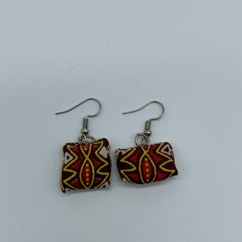 African Print Earrings-Mini Pillow Red Variation