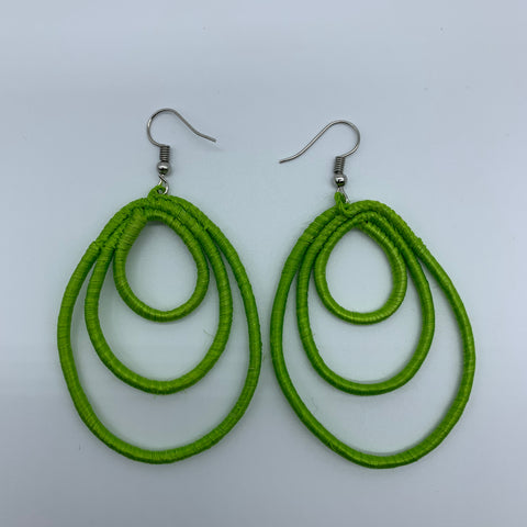 Sisal Earrings- NC Green Variation 2 - Lillon Boutique