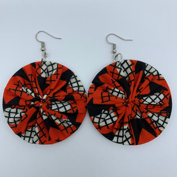 African Print Earrings-Round M Red Variation 7 - Lillon Boutique
