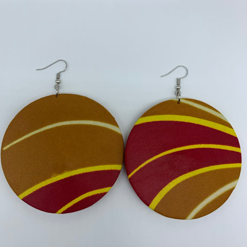 African Print Earrings-Round L Red Variation 3