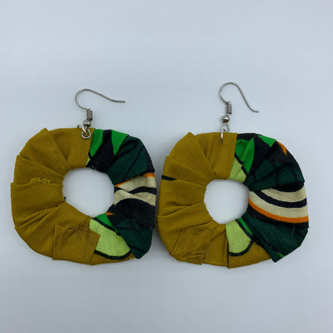 African Print Earrings-Faux Scrunchy Green Variation 2 - Lillon Boutique