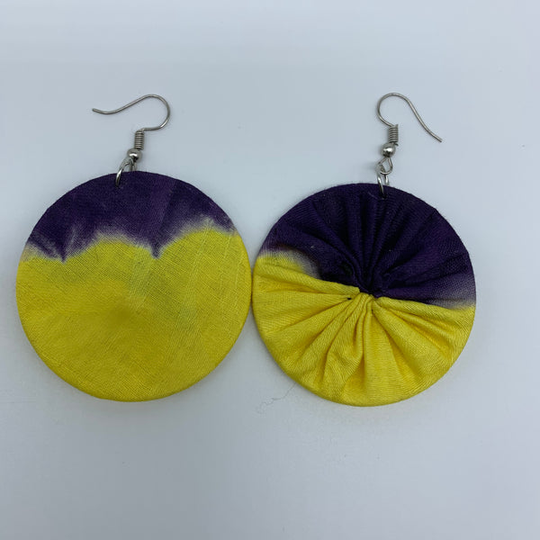African Print Earrings-Round S Yellow Variation 3