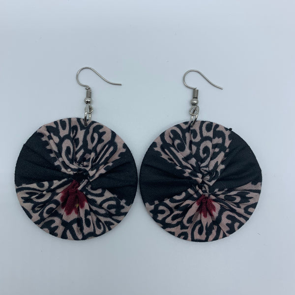 African Print Earrings-Round S Black Variation - Lillon Boutique