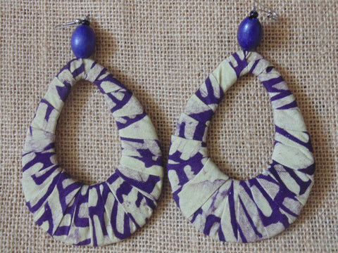 African Print Earrings-Purple Beige Variation