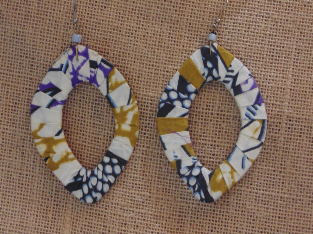 African Print Earrings-Blue Purple Off White Variation