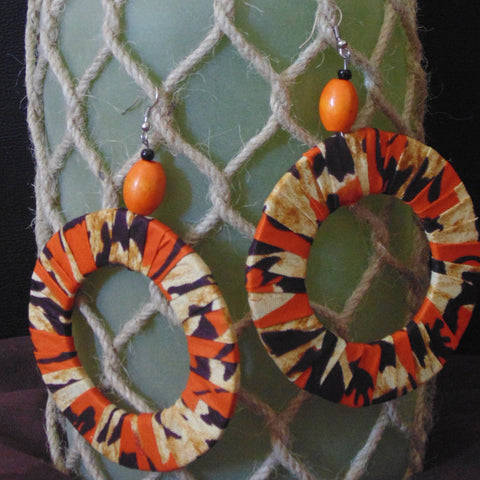 African Print Earrings-Orange Variation