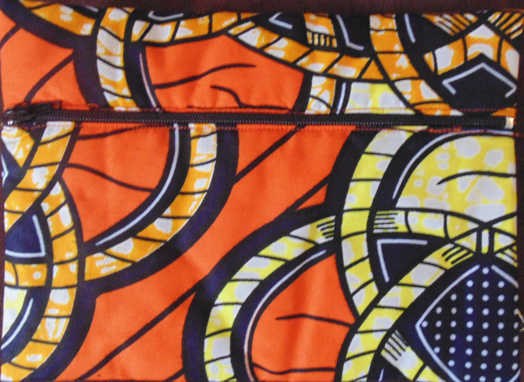 Orange padded African Print Makeup bag/Pencil case