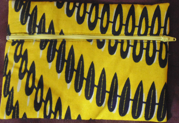Yellow  padded African Print Makeup bag/Pencil case - Lillon Boutique