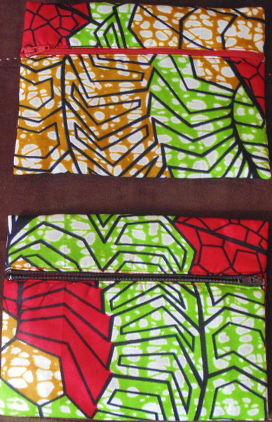Red & Green  padded African Print Makeup bag/Pencil case - Lillon Boutique