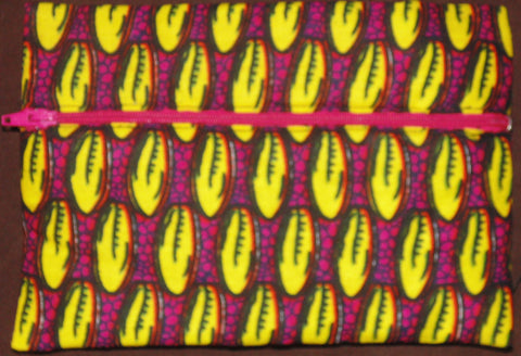 Yellow & Pink  padded African Print Makeup bag/Pencil case