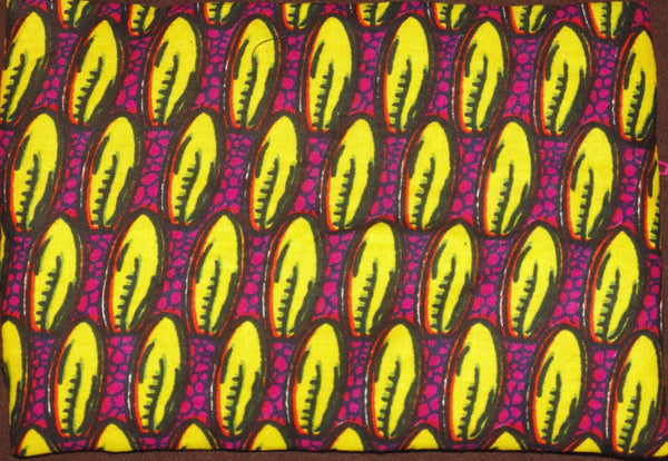 Yellow & Pink  padded African Print Makeup bag/Pencil case - Lillon Boutique