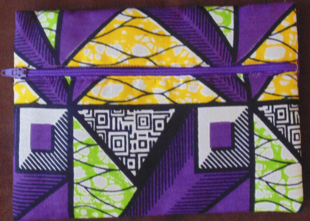 Purple & Green padded African Print Makeup bag/Pencil case