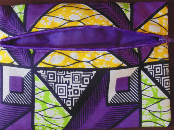 Purple & Green padded African Print Makeup bag/Pencil case - Lillon Boutique