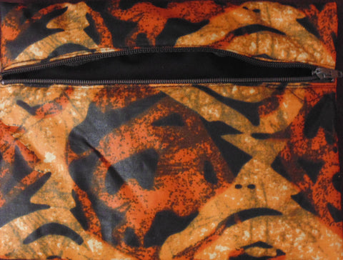 Orange variation padded African Print Makeup bag/Pencil case
