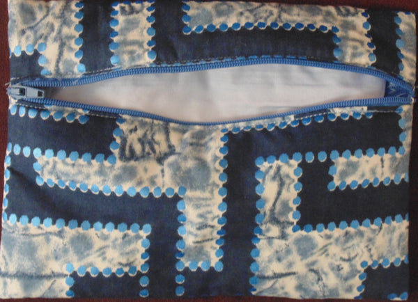 Blue padded African Print Makeup bag/Pencil case - Lillon Boutique