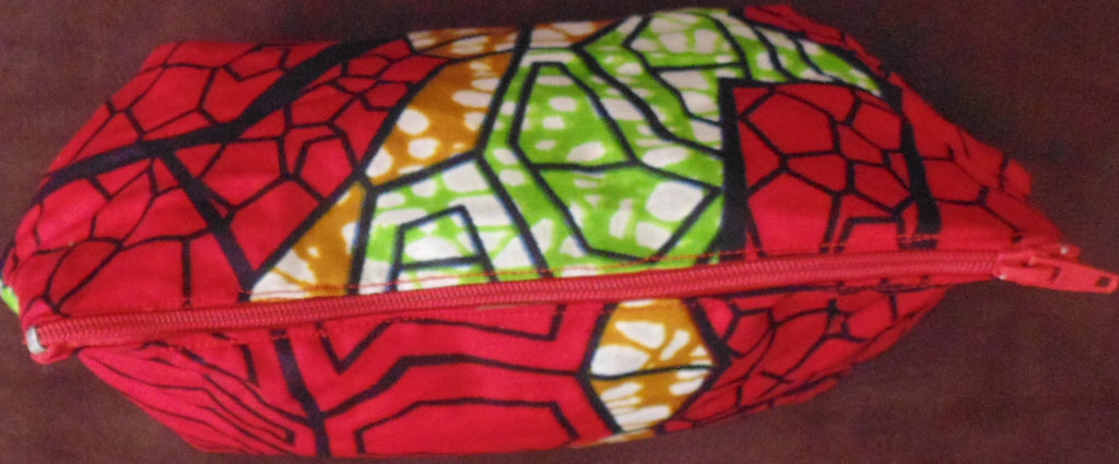 Red & Green African Print Makeup bag/Pencil case