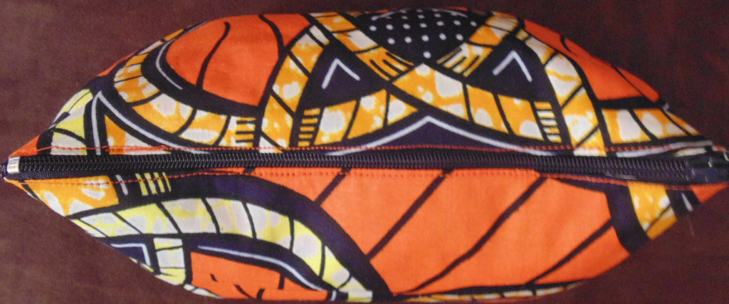 Orange African Print Makeup bag/Pencil case