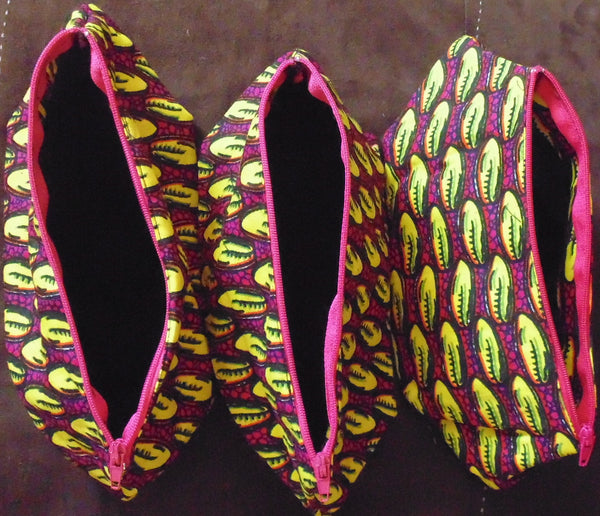 Yellow & Pink African Print Makeup bag/Pencil case - Lillon Boutique