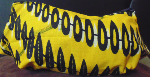 Yellow African Print Makeup bag/Pencil case