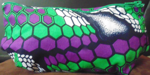 Purple & Green African Print Makeup bag/Pencil case