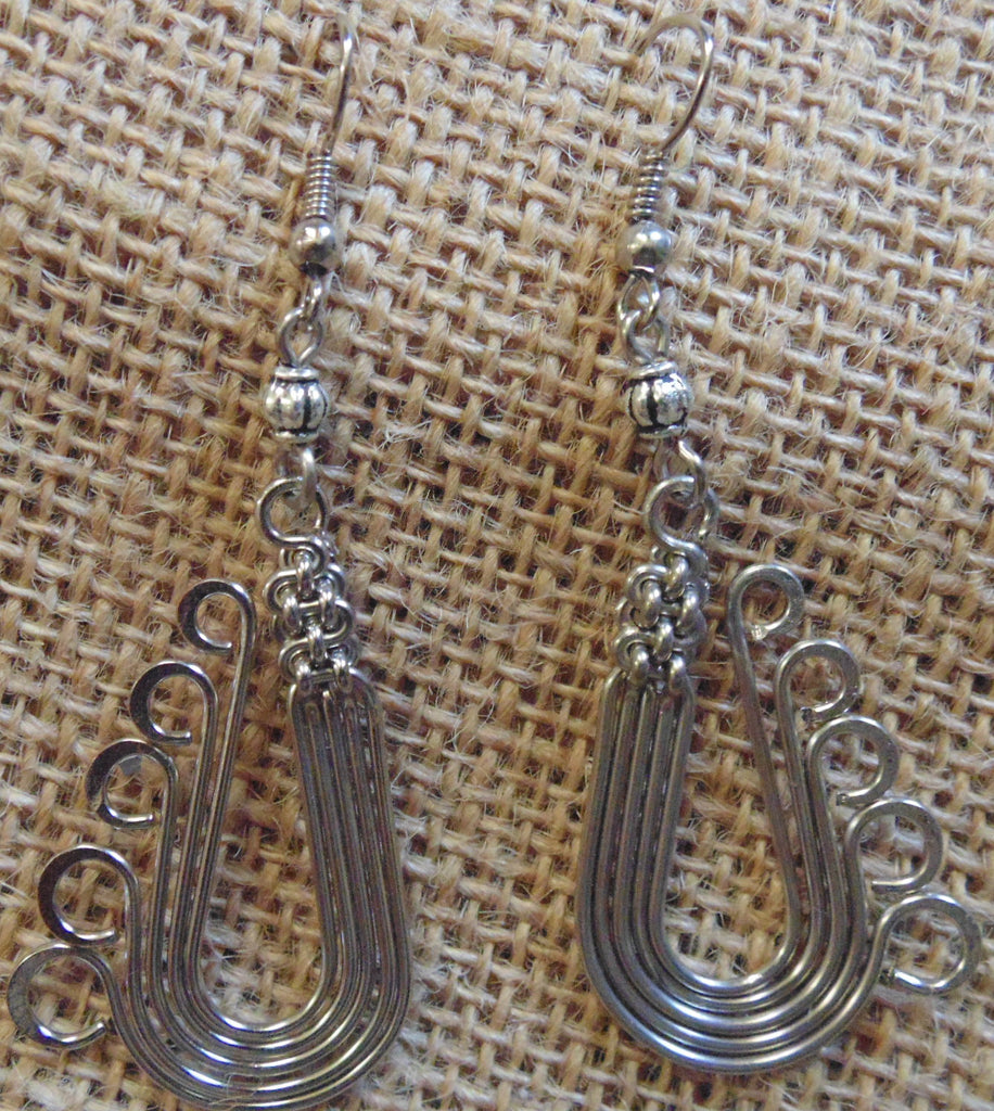 Metal Wire Earrings with Small black  or silver beads(Small)