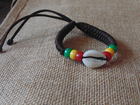 Handwoven Bracelet with  Beads & Shells  ( 2 different Colours Available)