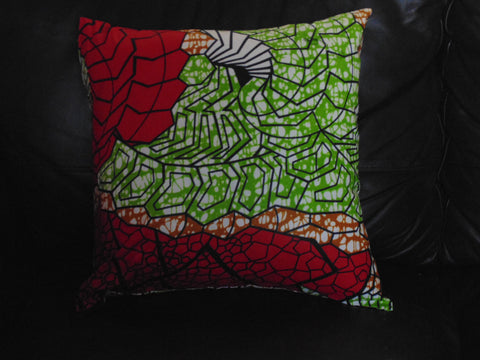 Red & Green African Print Pillow Cover
