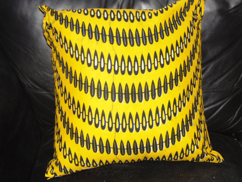 Yellow & Pink  African Print Pillow Cover