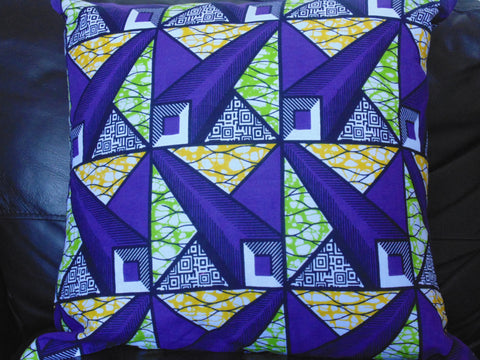 Purple & Green African Print Pillow Cover