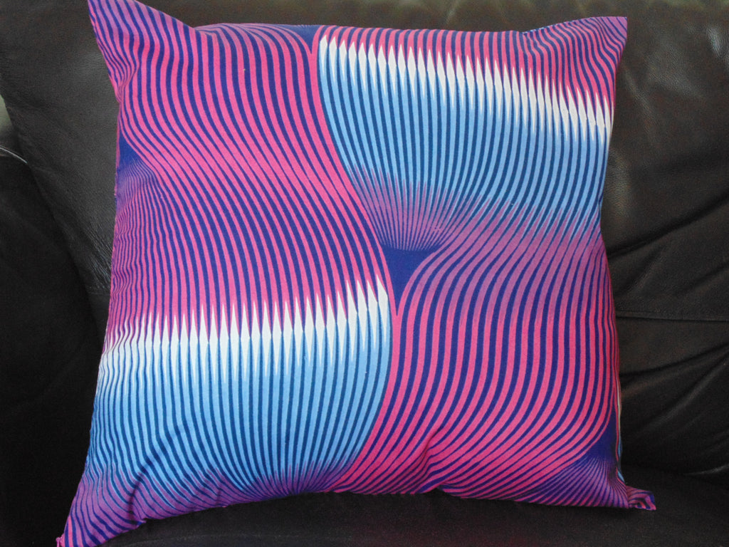 Blue & Pink  African Print Pillow Cover