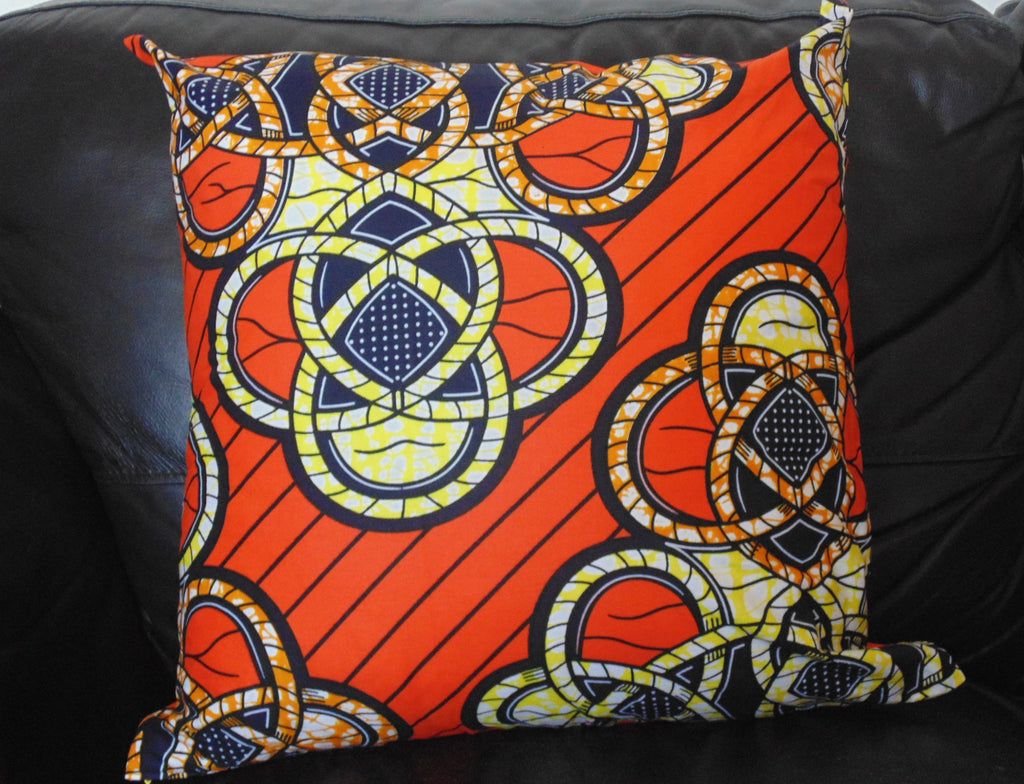 Orange African Print Pillow Cover