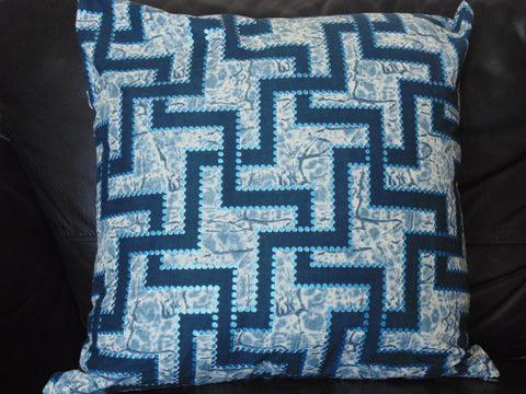 Blue  African Print Pillow Cover