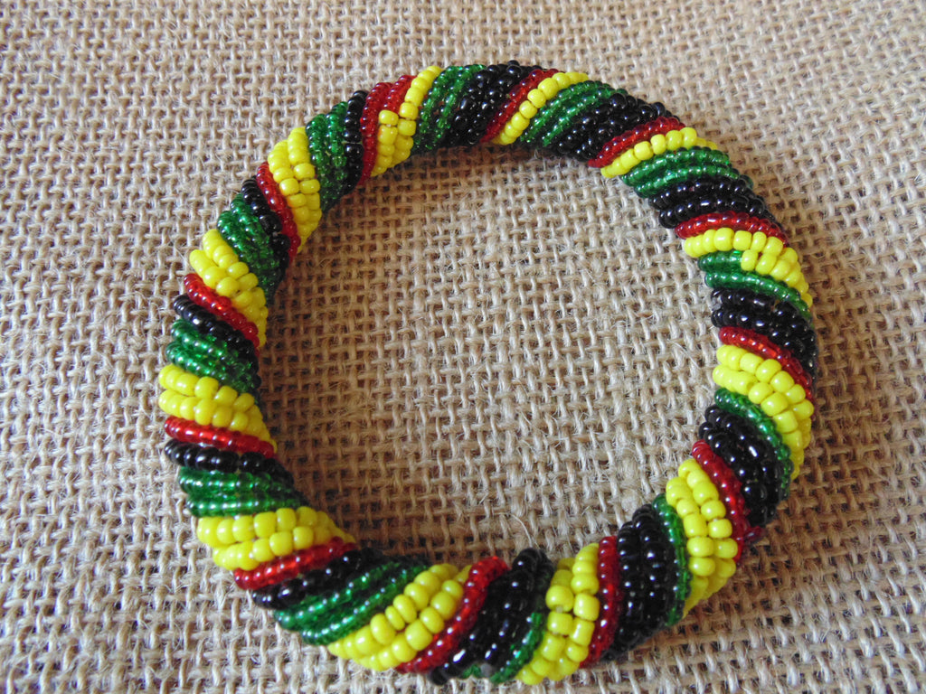 Beaded Bangle-Yellow Black Red Green Variation