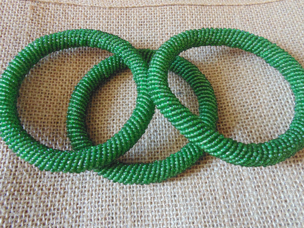 Beaded Bangle-Metallic Green 2 - Lillon Boutique