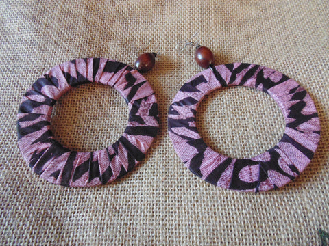 African Print Earrings-Pink Variation 3
