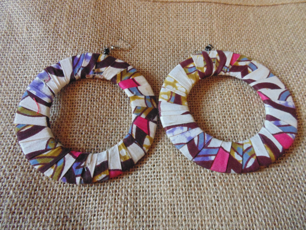 African Print Earrings-Off White Variation