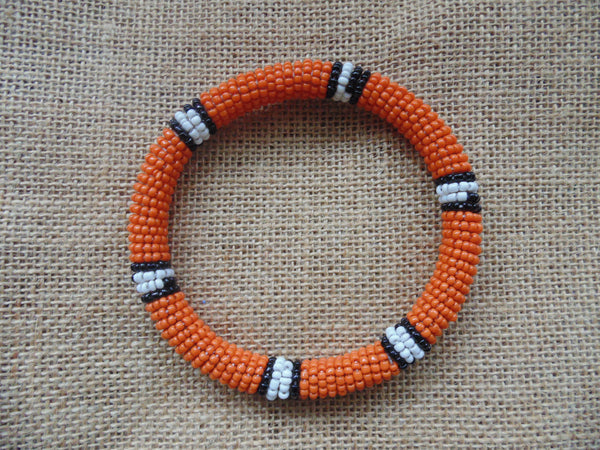 Beaded Bangle-Orange Black White Variation - Lillon Boutique