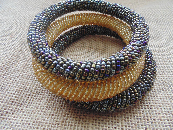 Beaded Bangle- Grey  Metallic Multi Colour  Variation - Lillon Boutique