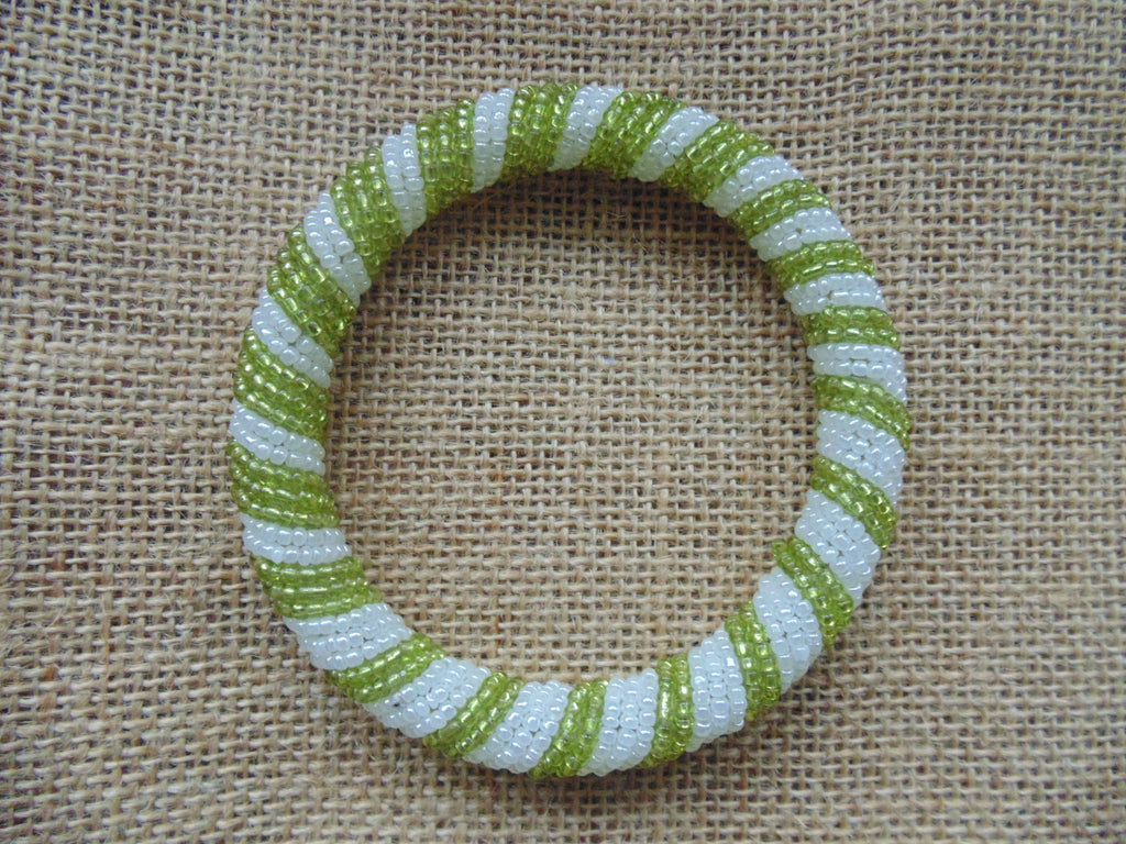 Beaded Bangle-Metallic Green  and  Pearl White