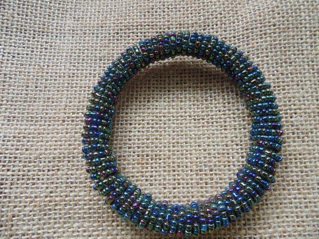 Beaded Bangle-Metallic Green and Multi Colour