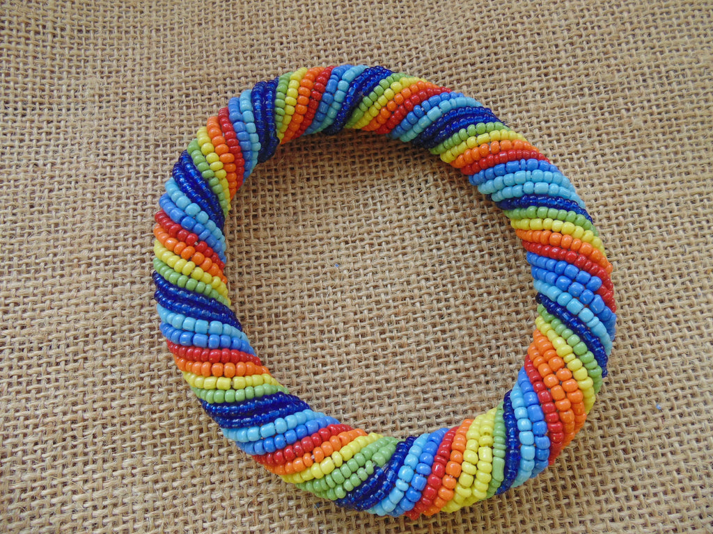 Beaded Bangle-Rainbow Variation