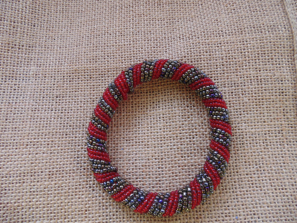 Beaded Bangle-Red and Metallic Variation