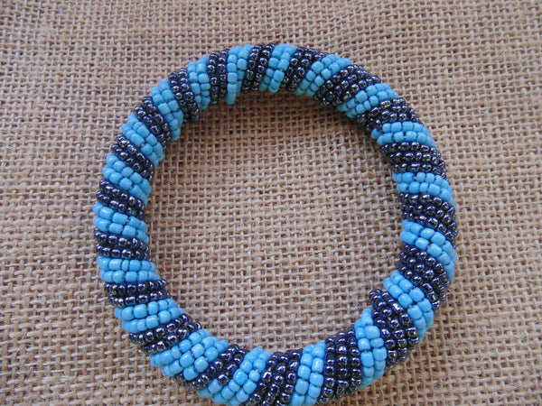 Beaded Bangle-Blue Metallic Variation - Lillon Boutique