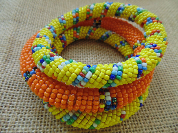 Beaded Bangle-Orange and Multi Colour - Lillon Boutique